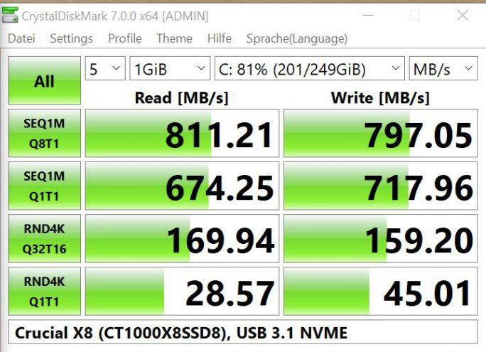 Crucial-X8-NVMe-USB-3-1-Gen2-ASMedia (Bild: ZDNet.de)