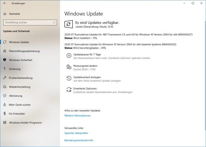 Juli-Sicherheitspatches für Windows (Screenshot: ZDNet.de)