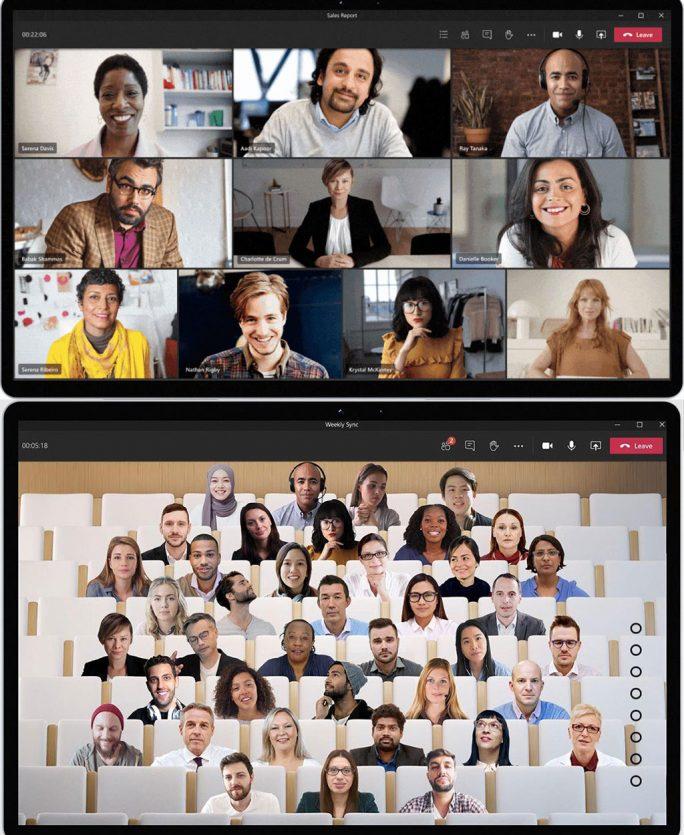 Microsoft Teams: Together mode verwandelt klasssische Ansicht von Videokonferenzen in einen virtuellen Hörsaal (Screenshot: Microsoft).