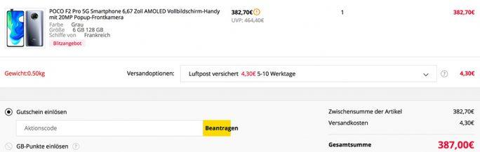 Poco F2 Pro kostet weniger als 390 Euro (Screenshot: ZDNet.de)