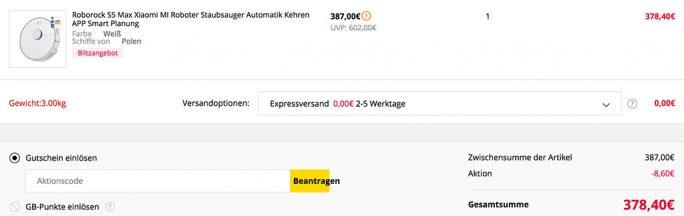 Roborock S5 Max für 378 Euro (Screenshot: ZDNet.de)