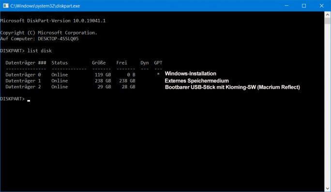 Windows 10 auf USB-SSD: Ausgangssituation (Screenshot: ZDNet.de)