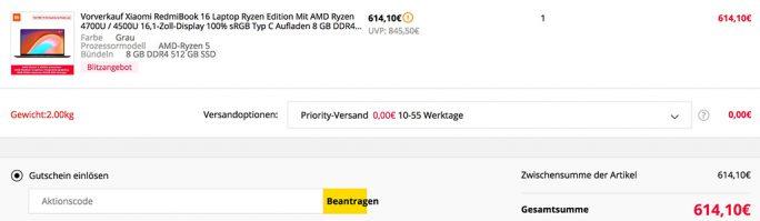 Xiaomi RedmiBook 16 mit Ryzen-Prozessor ab 614,10 Euro erhältlich (Screenshot: ZDNet.de)