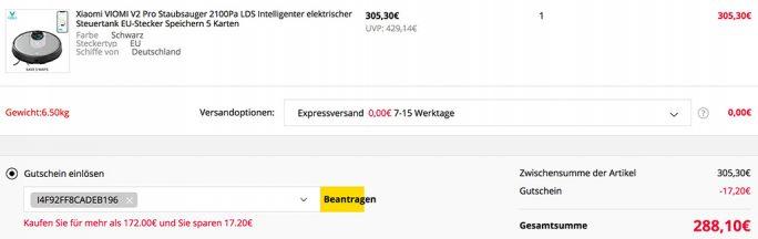 Xiaomi VIOMI V2 Pro für 288 Euro (Screenshot: ZDNet.de)