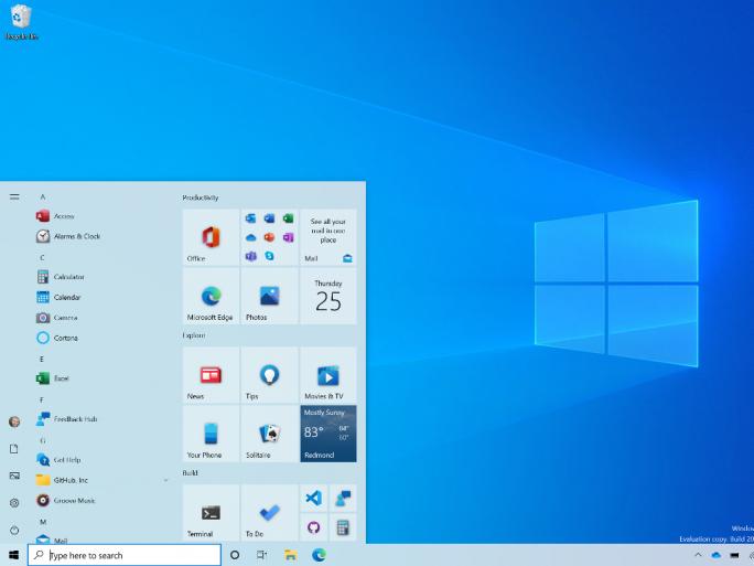 Startmenü von Windows 10 Build 20161 (Bild: Microsoft)