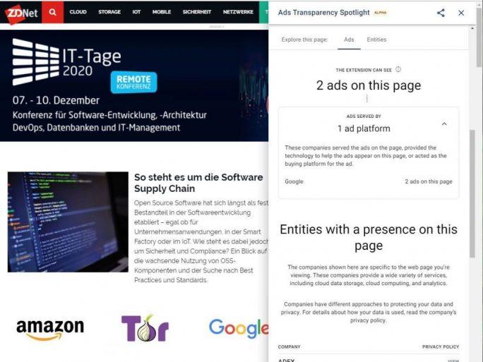 Ads Transparency Spotlight (Screenshot: ZDNet.de)