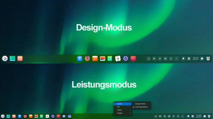 Deepin 20: Leistungsmodus/Design-Modus (Screenshot: ZDNet.de)