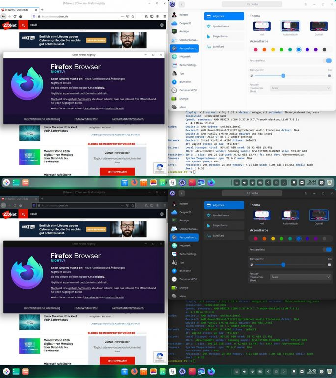 Deepin 20: Dark Mode (Screenshot: ZDNet.de)