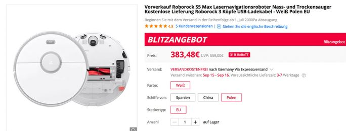 Roborock S5 Max für 383,48 Euro (Screenshot: ZDNet.de)