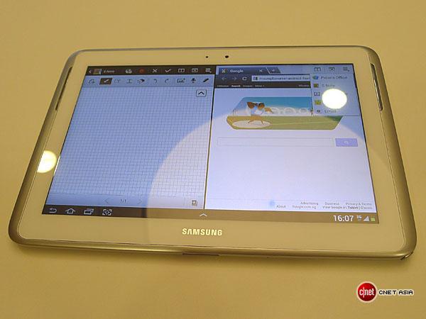 So sieht die S-Note-App bei Multiscreen-Nutzung mit dem Browser aus.