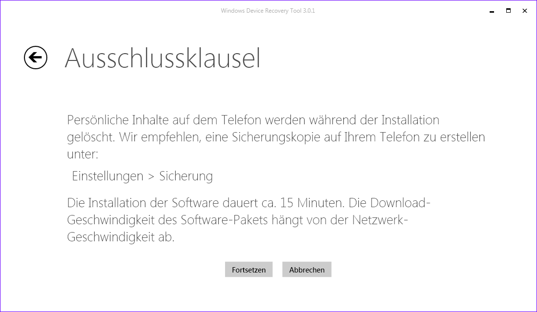 Downgrade auf Windows Phone 8.1