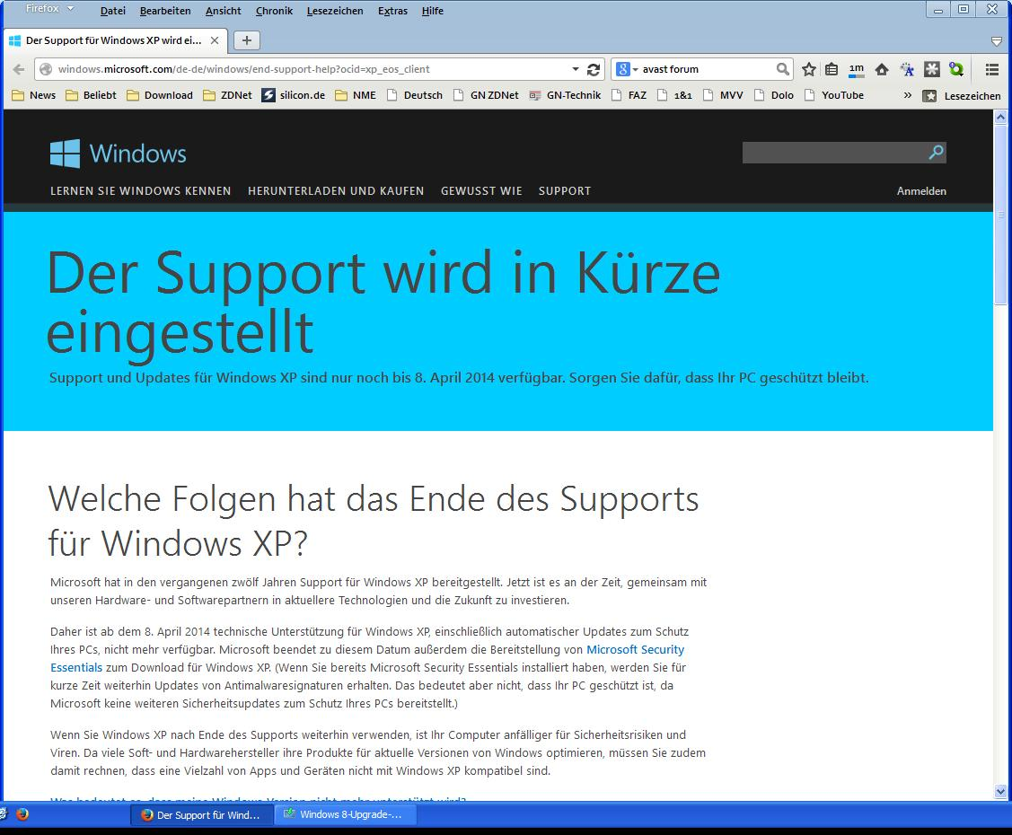 XP-Support endet am 8.4.2014
