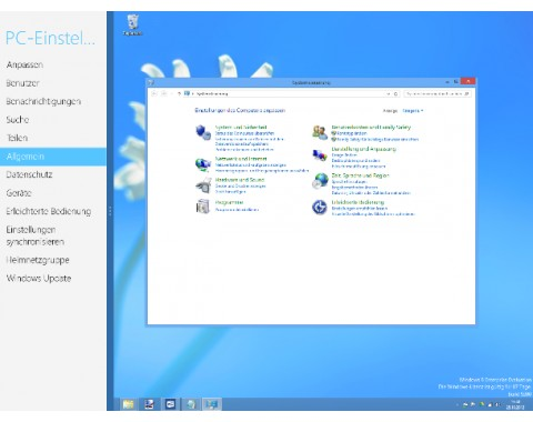 Verwirrend: Windows 8 hat zwei Systemsteuerungen (Screenshot: ZDNet).