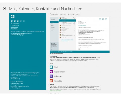 So präsentiert der Windows Store Apps, hier den E-Mail-Client (Screenshot: ZDNet).