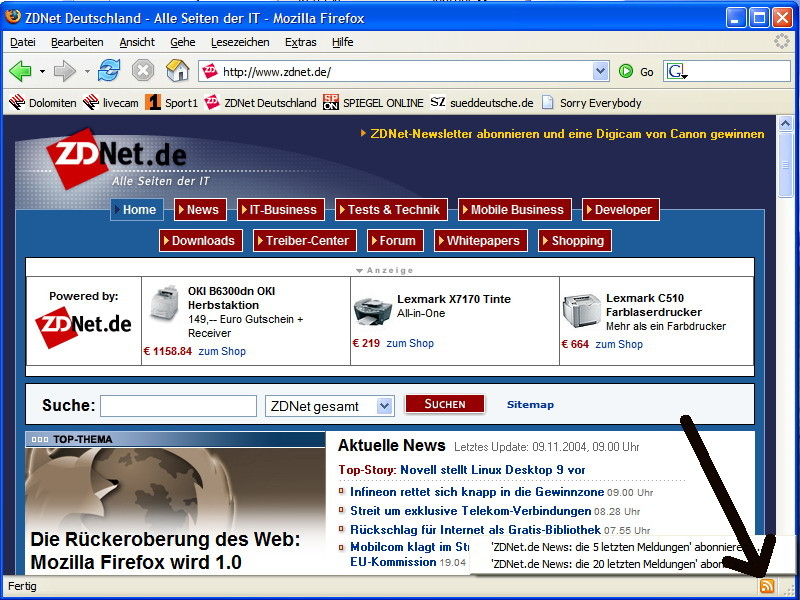 Firefox kann RSS-Feeds als Live-Bookmarks abspeichern. Das orangefarbene Logo zeigt an, ob eine Site diese Technik unterstützt.