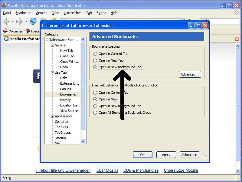Sollen Lesezeichen grundsätzlich in einem neuen Tab geöffnet werden, muss die Option Open in New Background Tab oder Open in New Tab aktiviert werden.
