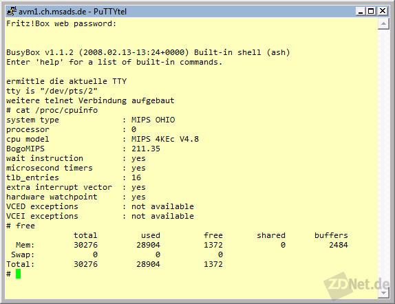 Bild 12: Schaut man auf die Details einer Fritz!Box, so erkennt man, dass sie nicht gerade mit üppiger CPU-Leistung und großzügigem Speicher ausgestattet ist.