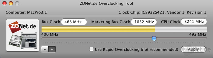 Figure 1: The latest generation of the Mac Pro (Mac Pro 3.1) with 2.8 GHz can be overclocked with ZDNet Clock up to 3.24 GHz without increasing the voltage or losing stability.