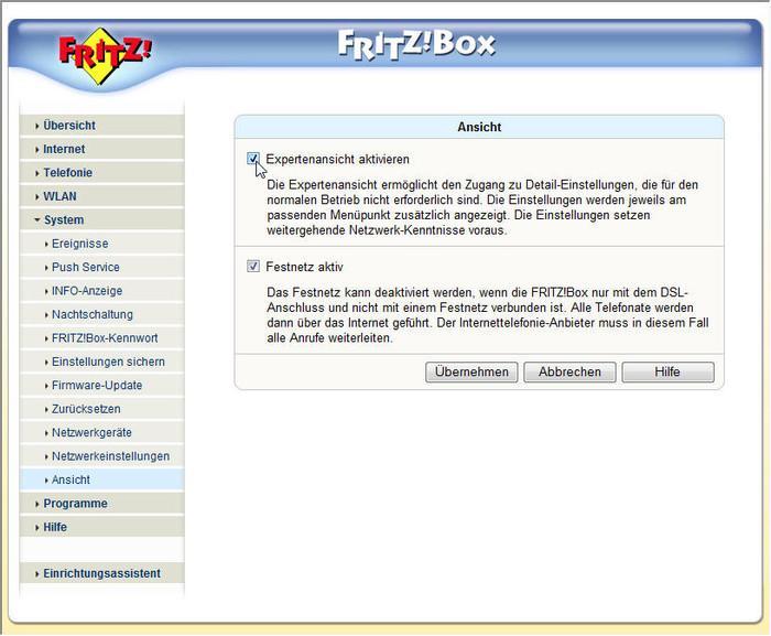 Damit alle Funktionen und Einstellungsmöglichkeiten der Fritzbox sichtbar sind, sollte man den Expertenmodus aktivieren (Screenshot: ZDNet).