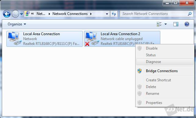 Bild 1: Um sich in eine Netzwerkstrecke einzuklinken, benötigt man zwei Ethernetports, die man überbrückt.