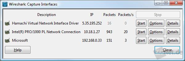 Bild 2: Wireshark erlaubt es, ein oder mehrere Netzwerkinterfaces auszuwählen, die man überwachen möchte.