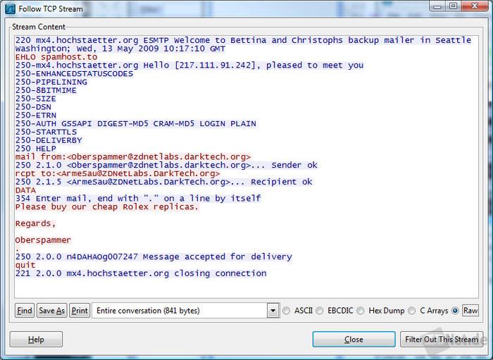 Bild 4: Ein Rechtsklick auf ein TCP-Paket baut die ganze TCP-Verbindung wieder zusammen. So entsteht aus kleinen unverständlichen Paketen eine E-Mail, die leicht zu lesen ist.