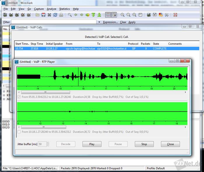 Bild 5: Komplexere Protokolle, etwa VoIP-Gespräche, findet Wireshark automatisch.