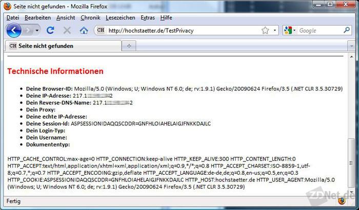 Bild 1: Ohne IP-Adressverschleierung und Private Browsing erhält ein Websitebetreiber eine Menge Informationen über den Nutzer.