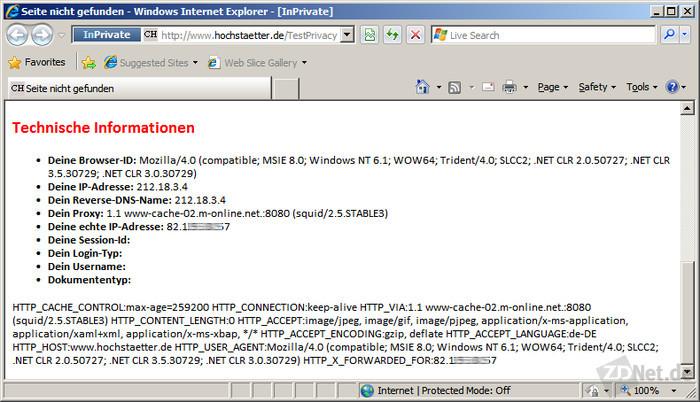 Bild 5: Dieses Beispiel zeigt jedoch, dass viele Proxies die echte IP-Adresse in der Variablen HTTP_X_FORWARDED_FOR an den Webserver übertragen.