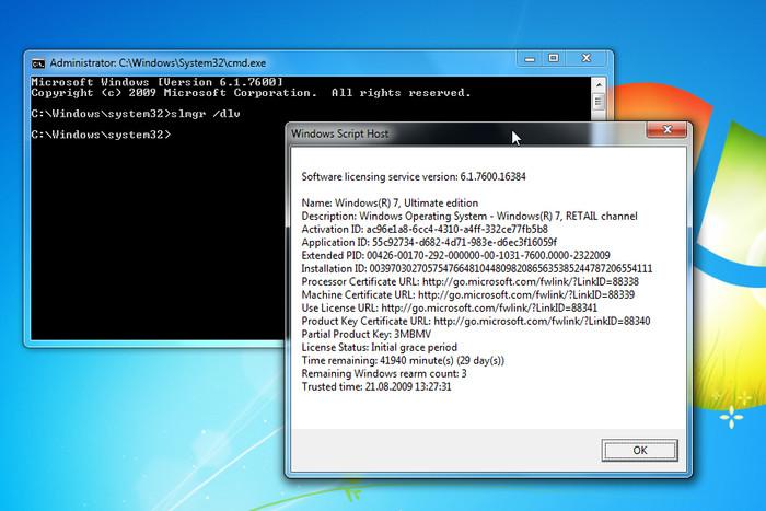 Der Befehl <i>slmgr /dlv</i> öffnet ein Fenster, das in der vorletzten Zeile anzeigt, wie oft man den Timer noch zurücksetzen kann. In diesem Fall geht das noch dreimal (Screenshot: ZDNet).
