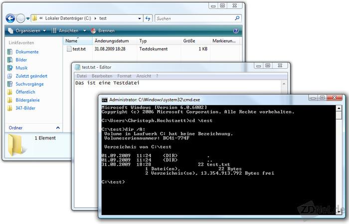 Hier stellt sich ein unauffälliges Bild dar: Offensichtlich scheint sich nur die Datei test.txt im Verzeichnis C:\Test zu befinden. Doch der Schein trügt.