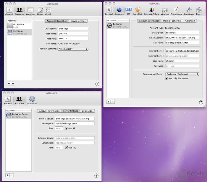 Snow-Leopard erlaubt eine Anbindung an Exchange 2007 und höher. Nur bei der ersten Konfiguration mit Mail werden die Zugangsdaten auch in iCal und im Adressbuch eingepflegt. Spätere Änderungen müssen in allen drei Applikationen einzeln durchgeführt werden.