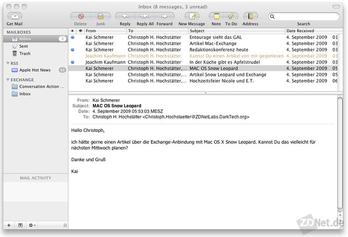 Die Anbindug funktioniert ohne Probleme. Microsoft Exchange lässt sich mit vollen Replikationsfähigkeiten nutzen.