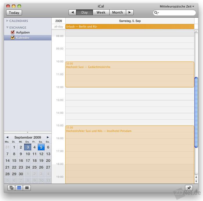 Für Ganztagesereignisse kann iCal nur mit kurzen Ereignissen umgehen. Der Rest wird abgeschnitten.