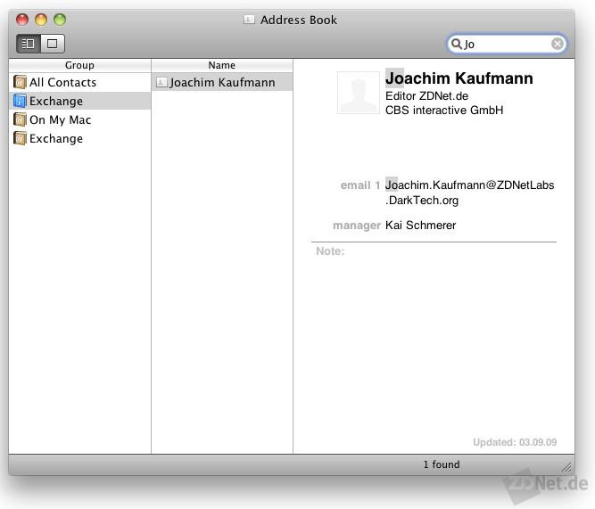 Wenn man nach einem Namen sucht, erscheint er nur, wenn man mit dem Server verbunden ist. Das hätte Apple besser lösen können.