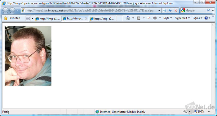 Dieses Profilbild auf MeinVZ wurde durch ein anderes ersetzt. Kennt man jedoch die URL des alten Bildes, kann man es nach wie vor abrufen. Die URL erhält man beispielsweise durch Auswertung eines älteren Datenbestandes, den ein Webspider angelegt hat.