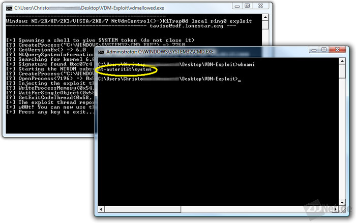Ein Doppelklick auf die im Internet veröffentlichte Datei vdmallowed.exe verschafft jedem Nutzer sofort lokale Adminrechte. Dabei kann der Angreifer den System-Account nutzen, der noch mehr Rechte hat, als das Administratorkonto. Mit dem System-Konto kann man jedoch nicht auf das Netz zugreifen.