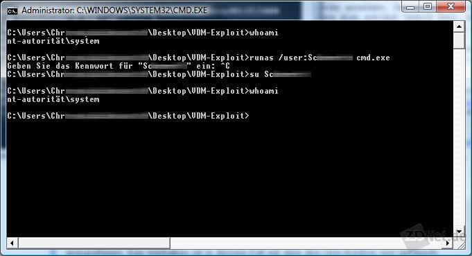 Das su-Kommando aus Cygwin scheint auf den ersten Blick auch nicht zu funktionieren.