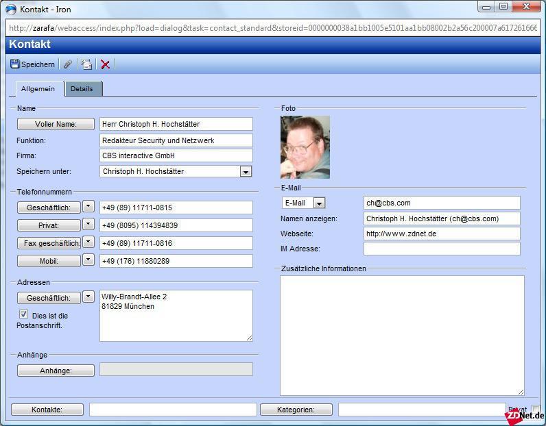 Auch die Kontaktkarten sehen aus wie unter Outlook.