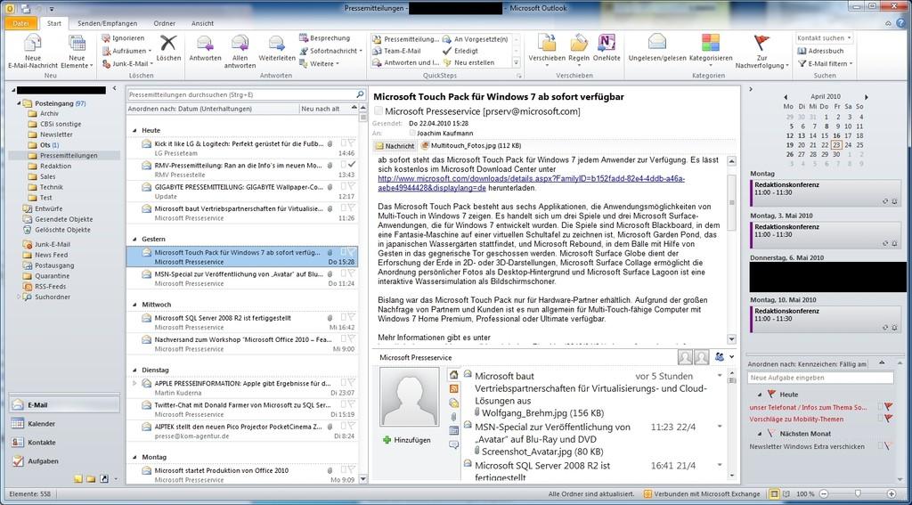 Outlook 2010 wirkt aufgeräumter als der Vorgänger. Die Ribbon-Oberfläche ... (alle Bilder: ZDNet)