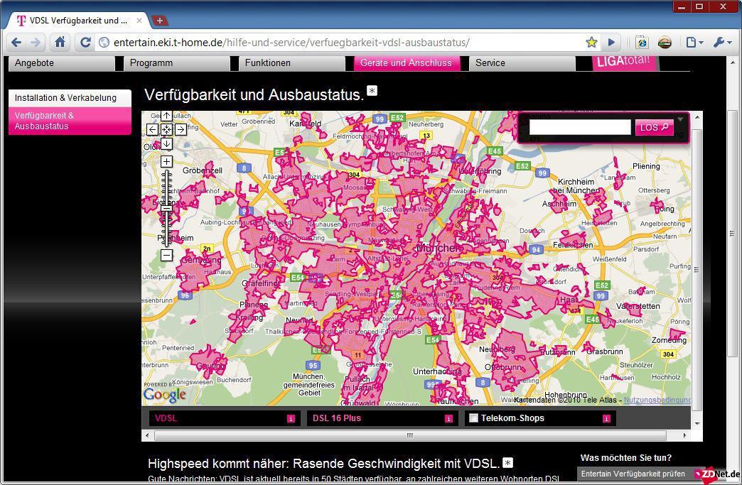 Bei VDSL lässt sich anhand einer interaktiven Karte ermitteln, ob man in einem versorgten Gebiet liegt. Beim Fernsehkabel ist jeweils einzeln zu prüfen, ob im Haus ein Anschluss des gewünschten Anbieters vorhanden ist.