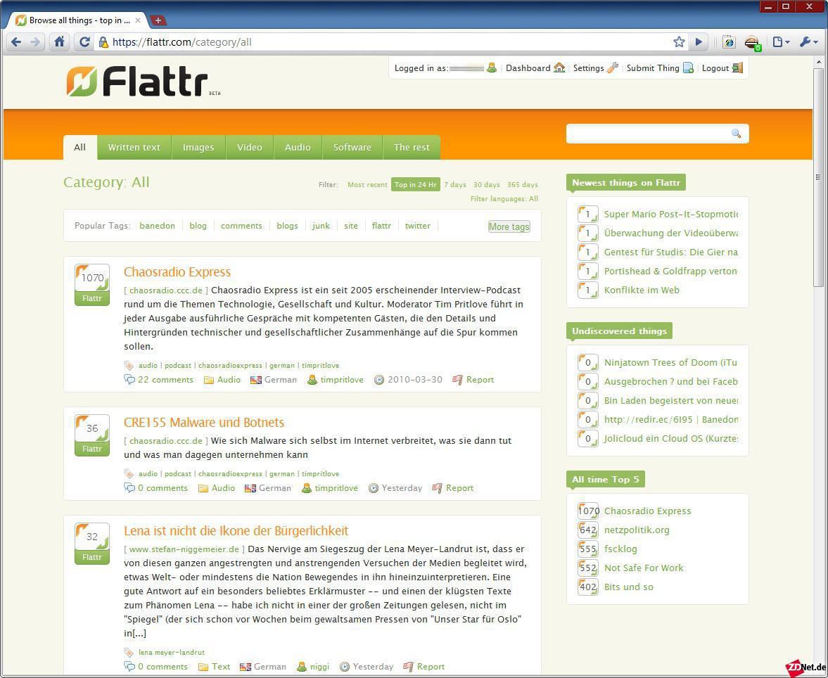 Wirft man einen Blick auf die Flattr-Homepage, erkennt man, dass der Dienst bisher nur im deustchsprachigen Raum Beachtung befindet.
