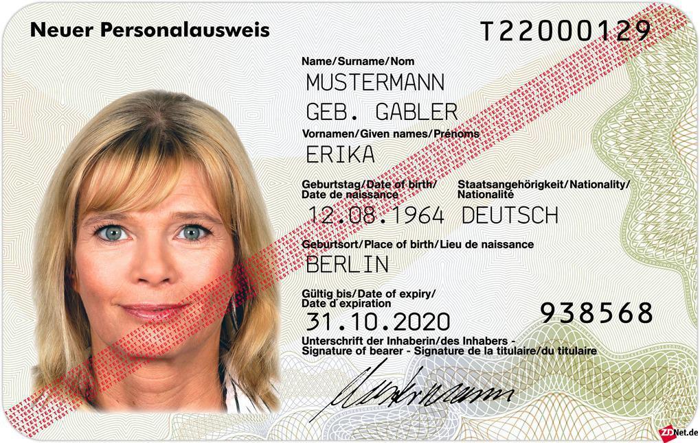 So sieht der neue Personalausweis im Scheckkartenformat aus. Im Inneren befindet sich ein RFID-Chip, der unter anderem die Fingerabdrücke des Besitzers speichern kann (Bild: BMI).