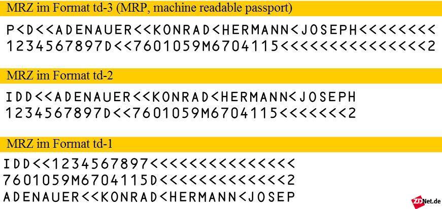 """Die """"Machine Readable Zone"""" (MRZ) ist einer der ältesten ICAO-Standards für maschinenlesbare Reisedokumente. Beim neuen Personalausweis befindet sie sich auf der Rückseite. Es wird das Format td-1 verwendet.<br><br>Die numerischen Daten der MRZ werden benötigt, um den Personalausweis mit dem BAC-Protokoll über Funk auszulesen (Bildquelle: Wikimedia, Lizenz: gemeinfrei)."""