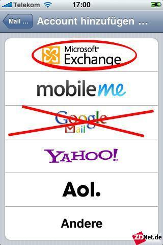 Auf einem iPhone sollte man ebenfalls mit ActiveSync (Exchange) replizieren. Der Grund: Unter iOS 4 lassen sich keine Kontakte mit nativem Google-Mail-Provider synchronisieren. Ältere iOS-Versionen beherrschen nicht einmal Kalender.