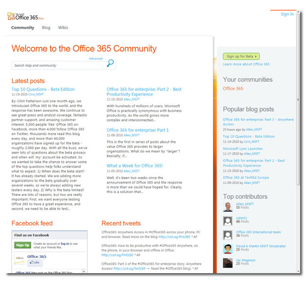 Der Beta-Support wird über die Community-Website abgewickelt.