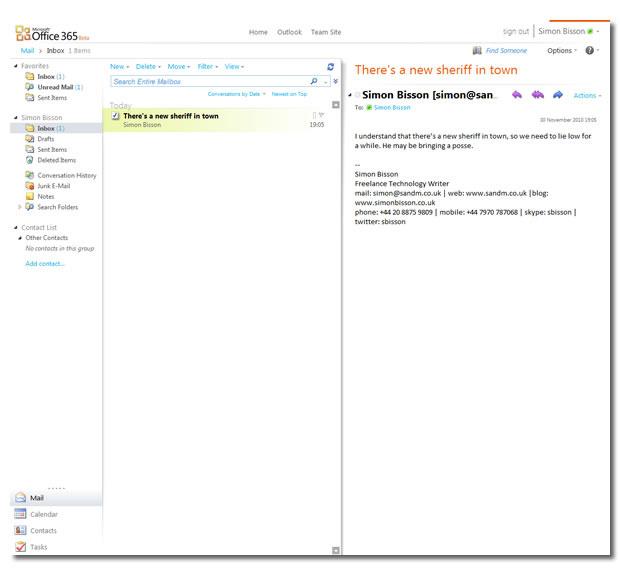 Die Outlook Web App ermöglicht den Zugriff auf den Exchange-Server. Eine Lizenz für die Desktop-Variante ist in der Small-Business-Version nicht enthalten.