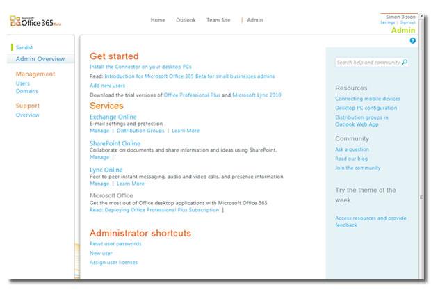 Die Administrationskonsole von Office 365.