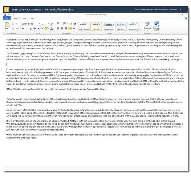 Die Office Web Apps in Office 365 ermöglichen das Anzeigen von Word-, Excel-, Powerpoint- und Onenote-Dokumenten. Hier ist gerade eine Word-Datei geöffnet.