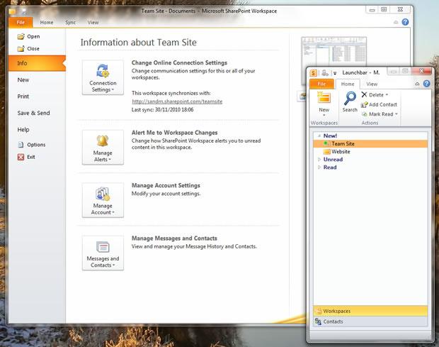 Sharepoint Workspace synchonisiert Sharepoint-Sites für die Offline-Nutzung mit dem Desktop.